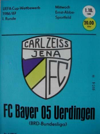 Lok Leipzig Programm 1986//87 FC Carl Zeiss Jena