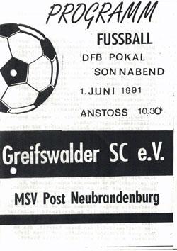 Programm 1991//92 SV Motor Eberswalde Wacker 04